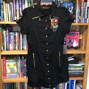 COOGI-black decorated short sleeve midi dress